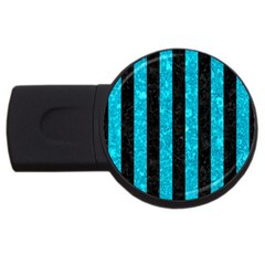Stripes1 Black Marble & Turquoise Marble Usb Flash Drive Round (4 Gb) by trendistuff