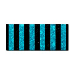 Stripes1 Black Marble & Turquoise Marble Hand Towel by trendistuff