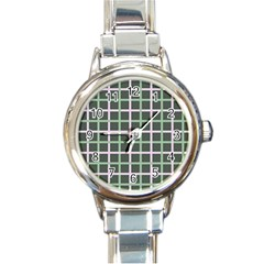 Pink And Green Tiles On Dark Green Round Italian Charm Watch by Jojostore