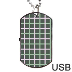 Pink And Green Tiles On Dark Green Dog Tag Usb Flash (one Side) by Jojostore