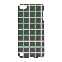Pink And Green Tiles On Dark Green Apple Ipod Touch 5 Hardshell Case by Jojostore