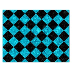 Square2 Black Marble & Turquoise Marble Jigsaw Puzzle (rectangular) by trendistuff