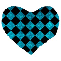 Square2 Black Marble & Turquoise Marble Large 19  Premium Flano Heart Shape Cushion by trendistuff