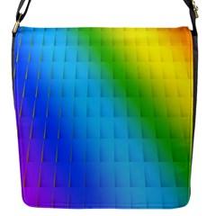 Rainbow Color Orange Yellow Green Purple Flap Messenger Bag (s) by Jojostore
