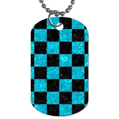 Square1 Black Marble & Turquoise Marble Dog Tag (one Side) by trendistuff