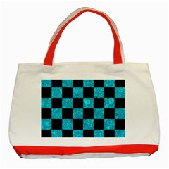 Square1 Black Marble & Turquoise Marble Classic Tote Bag (red) by trendistuff
