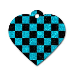 Square1 Black Marble & Turquoise Marble Dog Tag Heart (one Side) by trendistuff