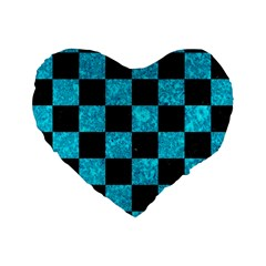 Square1 Black Marble & Turquoise Marble Standard 16  Premium Heart Shape Cushion  by trendistuff