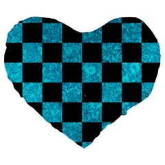 Square1 Black Marble & Turquoise Marble Large 19  Premium Flano Heart Shape Cushion by trendistuff