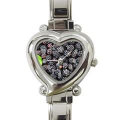 Blackberries Background Black Dark Heart Italian Charm Watch by Amaryn4rt