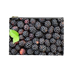 Blackberries Background Black Dark Cosmetic Bag (large)