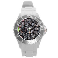 Blackberries Background Black Dark Round Plastic Sport Watch (l) by Amaryn4rt