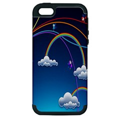 Rainbow Apple Iphone 5 Hardshell Case (pc+silicone) by Jojostore