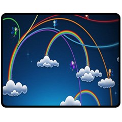 Rainbow Double Sided Fleece Blanket (medium)  by Jojostore