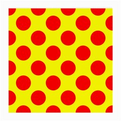 Red Circle Yellow Medium Glasses Cloth (2 Side) by Jojostore