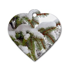 Brad Snow Winter White Green Dog Tag Heart (two Sides) by Amaryn4rt