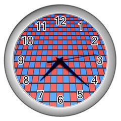 Red Blue Wall Clocks (silver)  by Jojostore
