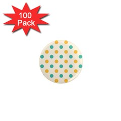 Round Blue Yellow 1  Mini Magnets (100 Pack)  by Jojostore