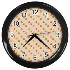Christmas Wrapping Paper Wall Clocks (black) by Amaryn4rt