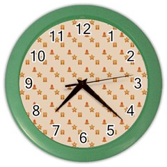 Christmas Wrapping Paper Color Wall Clocks by Amaryn4rt
