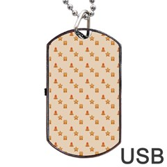 Christmas Wrapping Paper Dog Tag Usb Flash (two Sides)  by Amaryn4rt