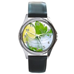 Cold Drink Lime Drink Cocktail Round Metal Watch