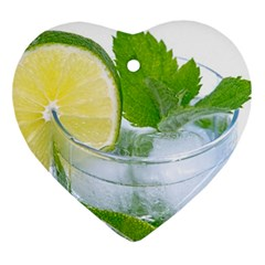 Cold Drink Lime Drink Cocktail Ornament (heart)  by Amaryn4rt