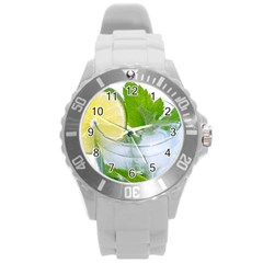 Cold Drink Lime Drink Cocktail Round Plastic Sport Watch (l) by Amaryn4rt