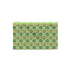 Square Green Yellow Cosmetic Bag (xs) by Jojostore