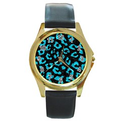 Skin5 Black Marble & Turquoise Marble (r) Round Gold Metal Watch by trendistuff