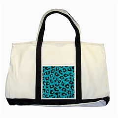 Skin5 Black Marble & Turquoise Marble Two Tone Tote Bag by trendistuff