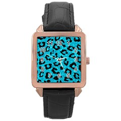 Skin5 Black Marble & Turquoise Marble Rose Gold Leather Watch  by trendistuff
