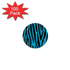 Skin4 Black Marble & Turquoise Marble 1  Mini Button (100 Pack)