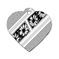 Stripe Seamless Flower Dog Tag Heart (two Sides) by Jojostore