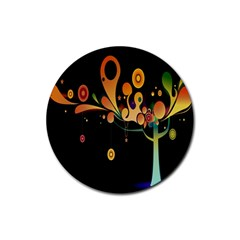Tree Circle Orange Black Rubber Coaster (round)  by Jojostore