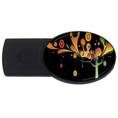 Tree Circle Orange Black Usb Flash Drive Oval (4 Gb)  by Jojostore