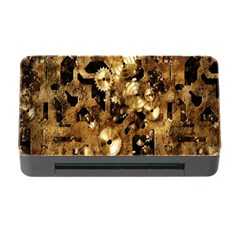 Steampunk Grunge Gold Cogs Memory Card Reader With Cf by Jojostore