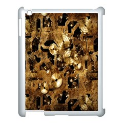 Steampunk Grunge Gold Cogs Apple Ipad 3/4 Case (white) by Jojostore