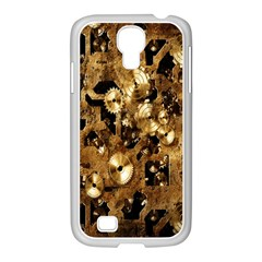 Steampunk Grunge Gold Cogs Samsung Galaxy S4 I9500/ I9505 Case (white) by Jojostore