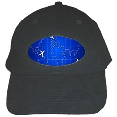 Unique Air Travel World Map Blue Sky Black Cap by Jojostore