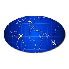 Unique Air Travel World Map Blue Sky Oval Magnet by Jojostore