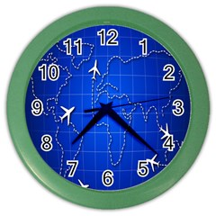Unique Air Travel World Map Blue Sky Color Wall Clocks by Jojostore