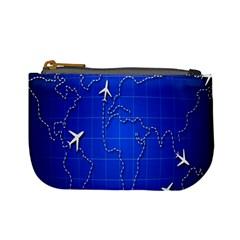 Unique Air Travel World Map Blue Sky Mini Coin Purses by Jojostore
