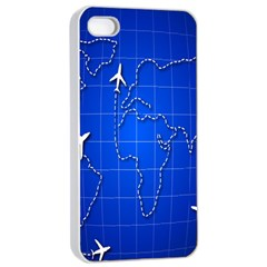 Unique Air Travel World Map Blue Sky Apple Iphone 4/4s Seamless Case (white) by Jojostore