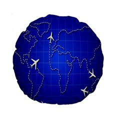Unique Air Travel World Map Blue Sky Standard 15  Premium Round Cushions by Jojostore