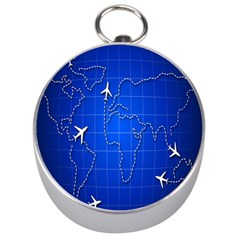 Unique Air Travel World Map Blue Sky Silver Compasses by Jojostore