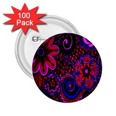 Sunset Floral Flower Red Pink Jewel Box 2 25  Buttons (100 Pack)  by Jojostore