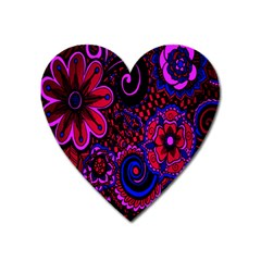 Sunset Floral Flower Red Pink Jewel Box Heart Magnet by Jojostore