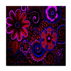 Sunset Floral Flower Red Pink Jewel Box Face Towel by Jojostore