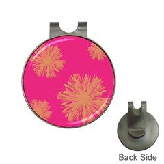 Yellow Flowers On Pink Background Pink Hat Clips With Golf Markers by Jojostore